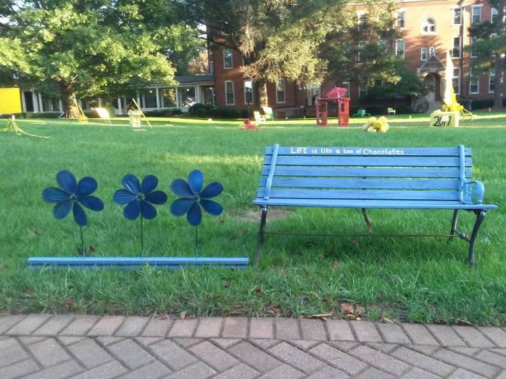 """Do you recognize the movie this bench and the quote are representing? It's from """"Forrest Gump"""""""