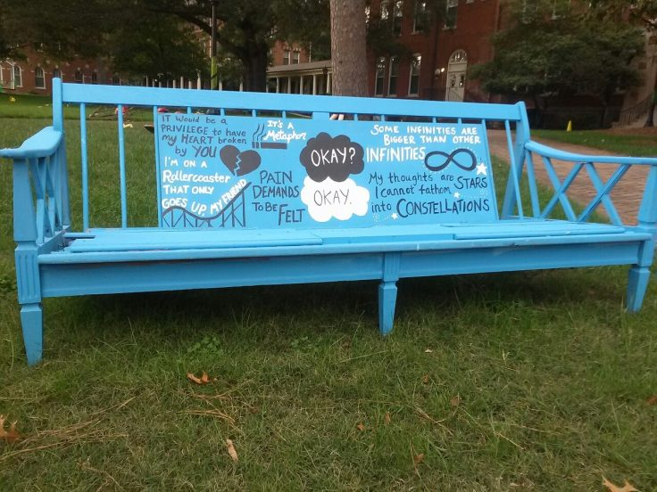 """How about this bench? This comes from the recent bestseller """"The Fault in Our Stars"""""""