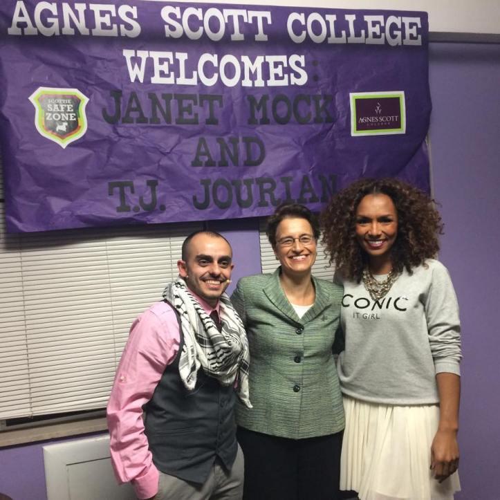 Agnes Scott College President Elizabeth Kiss welcomed Janet Mock and T.J. Jourian.