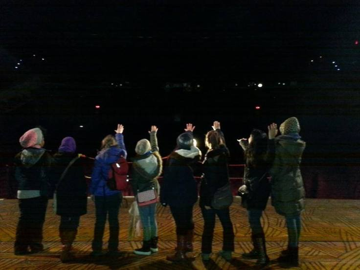 """Some students haven't left the country but traveled all the way to New York to tour Broadway and develop their interest in Theater. Here they are standing on """"The Lion King"""" stage."""